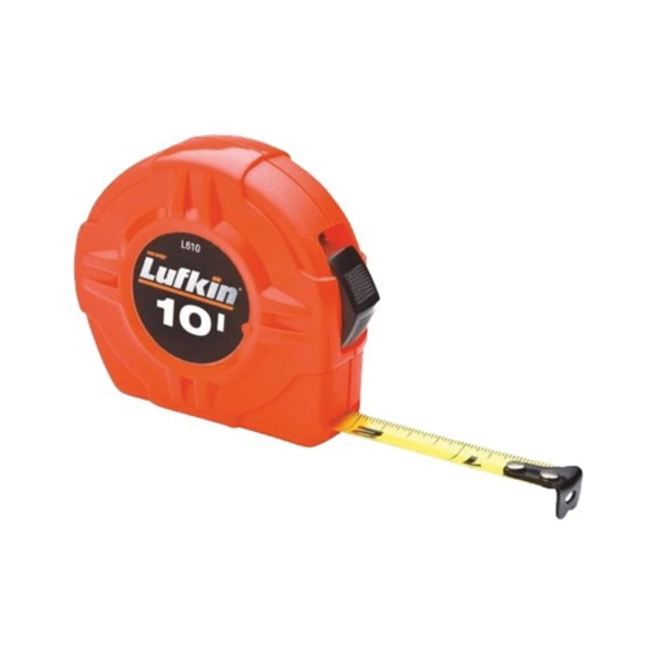 Picture of Crescent Lufkin L610 Tape Measure, 10 ft L Blade, 1/2 in W Blade, Steel Blade, ABS Case, Orange Case