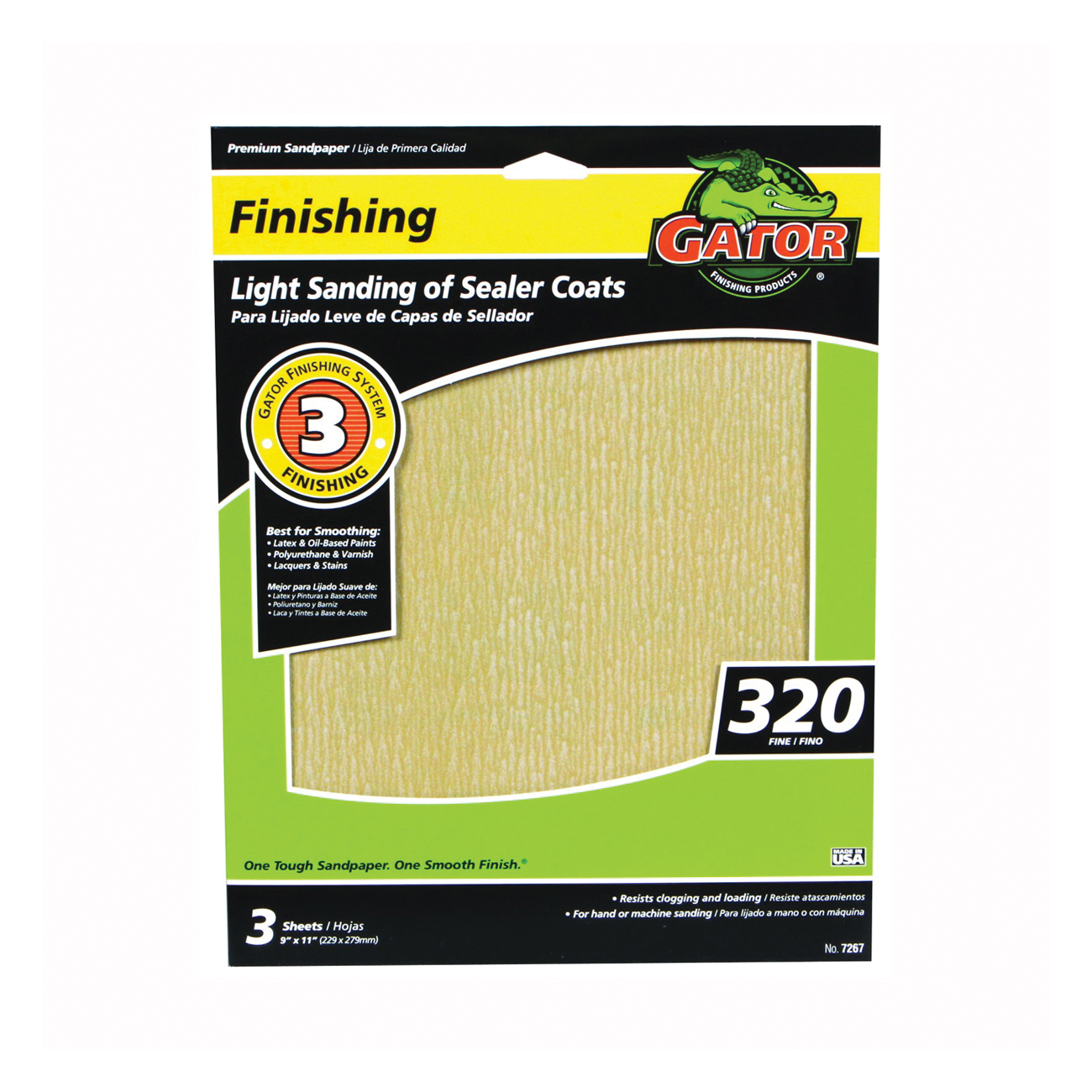 Picture of Gator 7267 Sanding Sheet, 11 in L, 9 in W, 320 Grit, Very Fine, Aluminum Oxide Abrasive