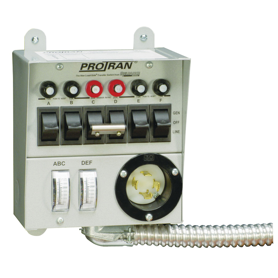 Picture of RELIANCE CONTROLS Pro/Tran 30216A Transfer Switch, 1-Phase, 60 A, 120/250 V, 7-Circuit, 6-Breaker