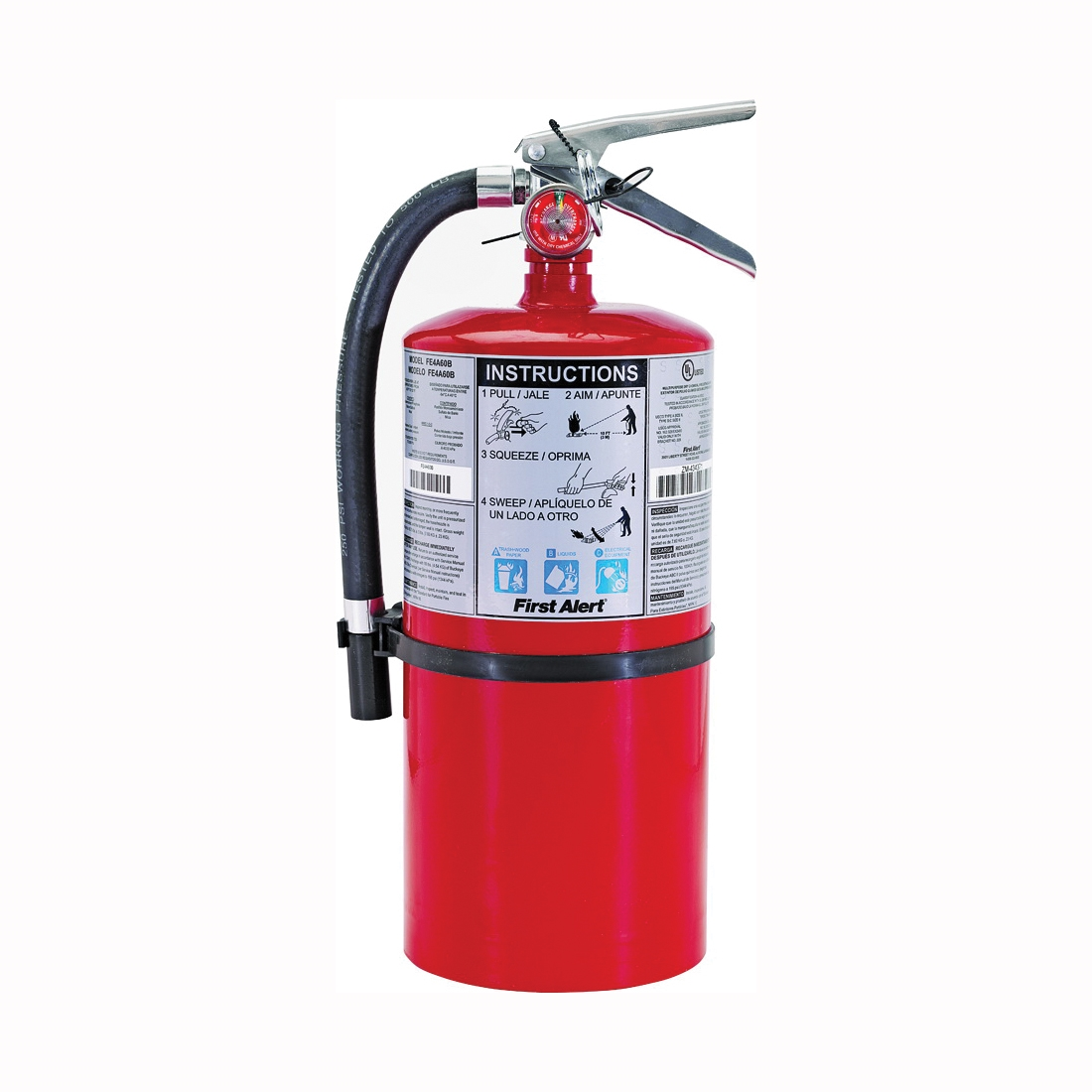 Picture of FIRST ALERT PRO10 Rechargeable Fire Extinguisher, 10 lb Capacity, Monoammonium Phosphate, 4-A:60-B:C Class