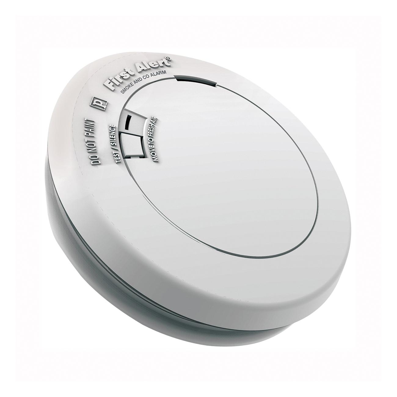 Picture of FIRST ALERT PRC710 Carbon Monoxide Alarm, 85 dB, Alarm: Audible, Electrochemical, Photoelectric Sensor, White
