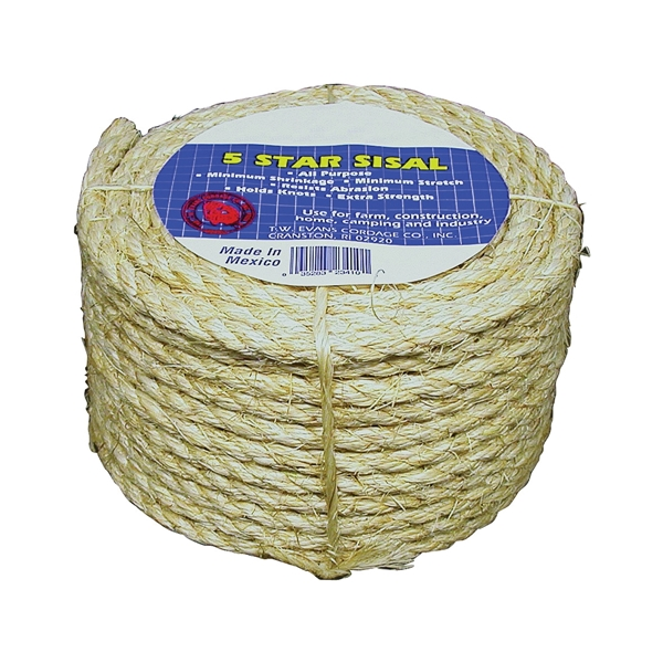 Picture of T.W. Evans Cordage 22-800 Fiber Rope, 3/4 in Dia, 600 ft L, Sisal, Natural, Coil