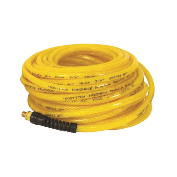 Picture of Bostitch PRO-3850 Air Hose, 3/8 in OD, 50 ft L, MNPT, 300 psi Pressure, Polyurethane, Yellow