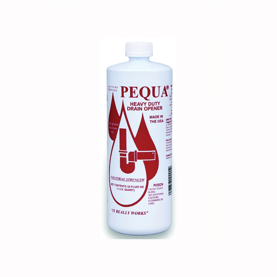 Picture of Pequa P-10232 Drain Opener, Liquid, Clear, Odorless, 1 qt Package, Bottle