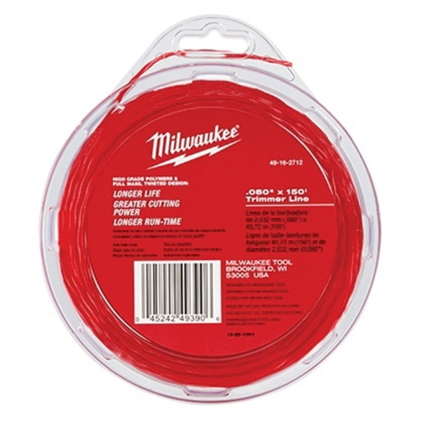 Picture of Milwaukee 49-16-2712 Trimmer Line, 0.080 in Dia, 150 ft L, Polymer, Black