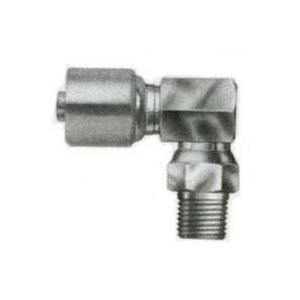 Picture of GATES MegaCrimp G25106-0606 Hose Coupling, 3/8-18, Crimp x NPTF, 90 deg Angle, Steel, Zinc