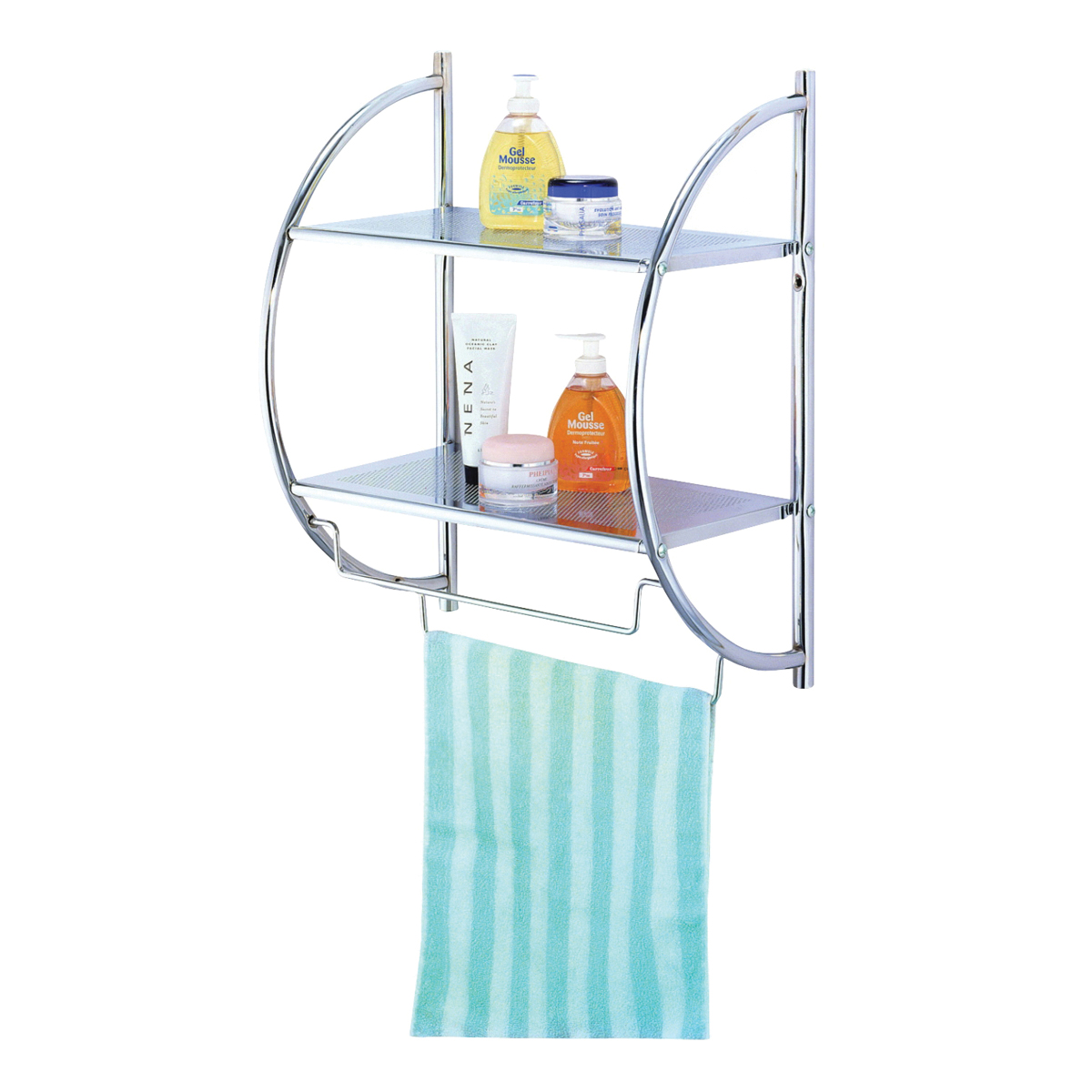 Picture of Simple Spaces Y19-CH Wall Rack, Each shelf 8.8, Each towel rack 8.8 lb Max Weight Capacity, Metal, Polished Chrome