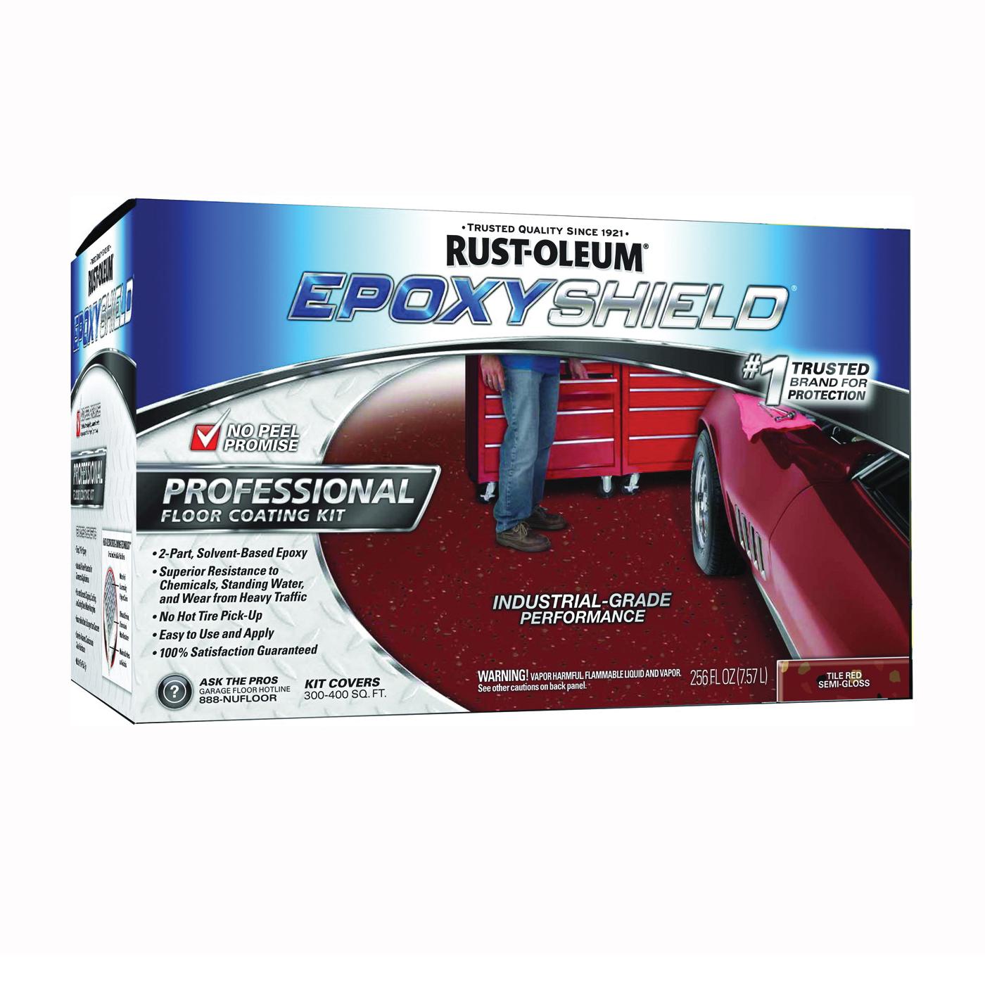 Picture of RUST-OLEUM EPOXYSHIELD 238468 Floor Coating Kit, Semi-Gloss, Tile Red, Liquid