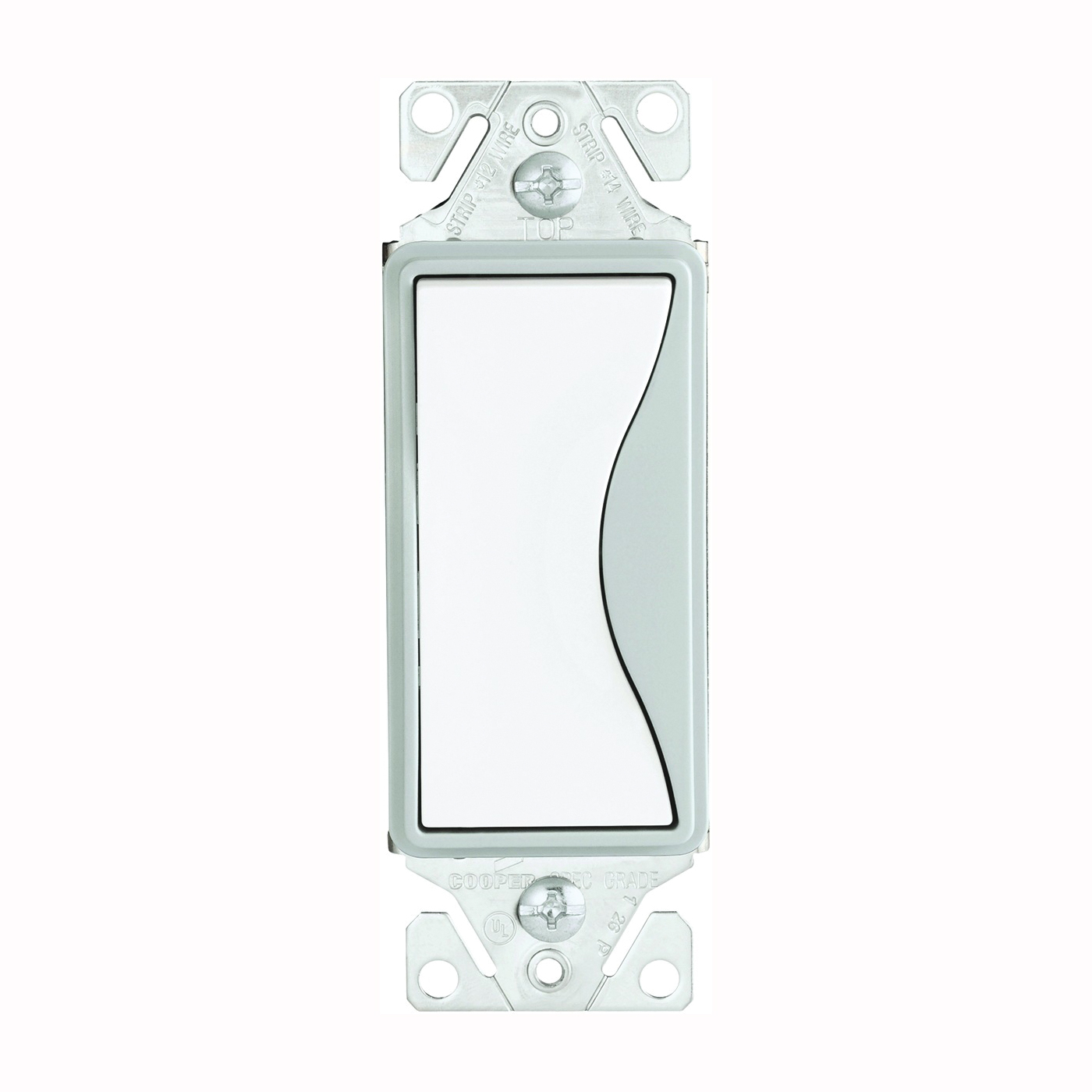 Picture of Eaton Wiring Devices ASPIRE 9501WS Rocker Switch, 15 A, 120/277 V, Single-Pole, Push-In Terminal, White