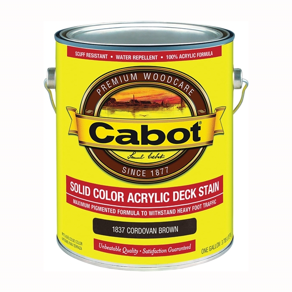 Picture of Cabot 1800 Series 1837 Solid Color Decking Stain, Low-Lustre, Cordovan Brown, Liquid, 1 gal, Can