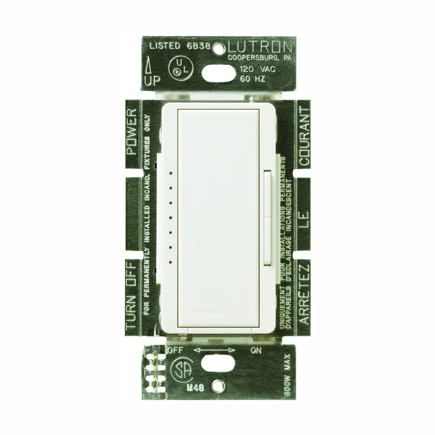 Picture of Lutron Maestro MACL-153MH-WH C.L Dimmer, 1.25 A, 120 V, 150 W, CFL, Halogen, Incandescent, LED Lamp, 3-Way, White