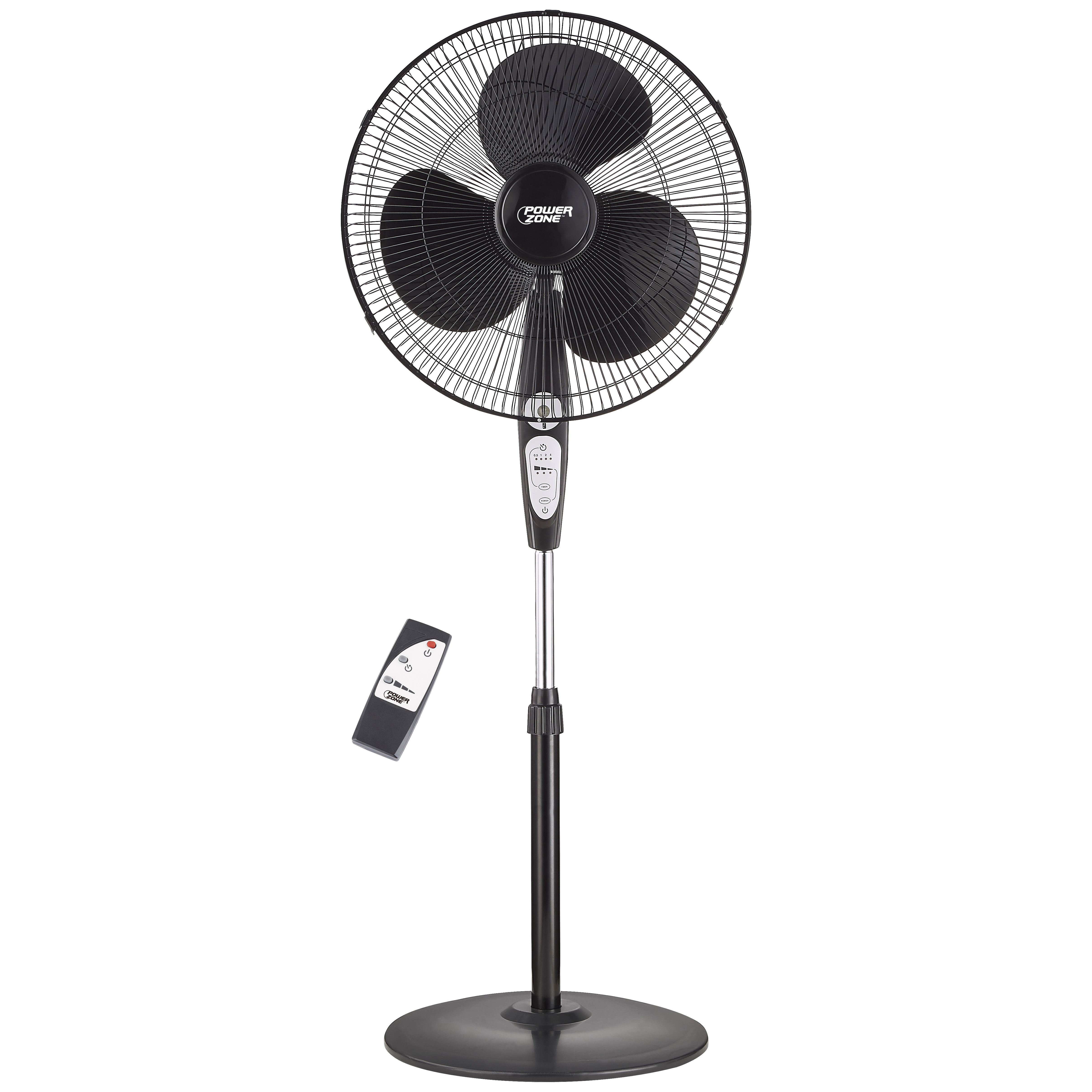 Picture of PowerZone SP2-18ARY Stand Fan, 120 V, 0.54 A, 90 deg Sweep, 18 in Dia Blade, 3-Blade, Plastic Blade, Black