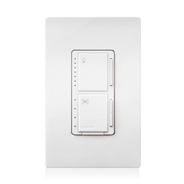Picture of Lutron MACL-LFQH-WH Fan Control and Light Dimmer, 1-Pole, 120 VAC, 60 Hz, White