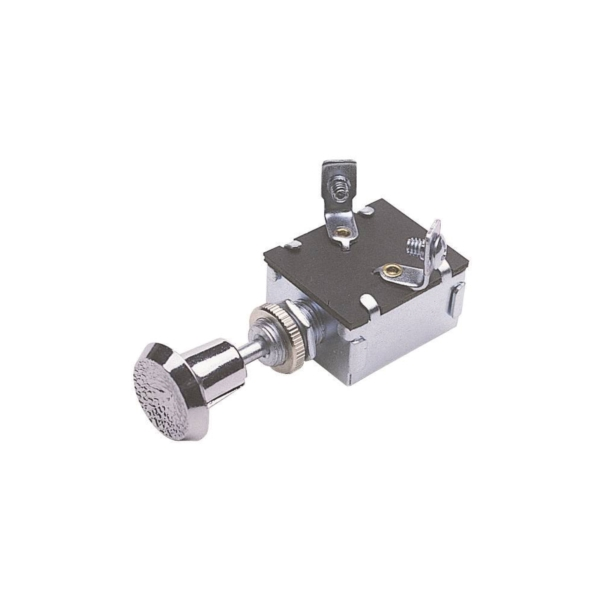 Picture of CALTERM 42200 Push/Pull Switch, 15 A, 12 VDC, Screw Terminal, Nickel Housing Material, Chrome