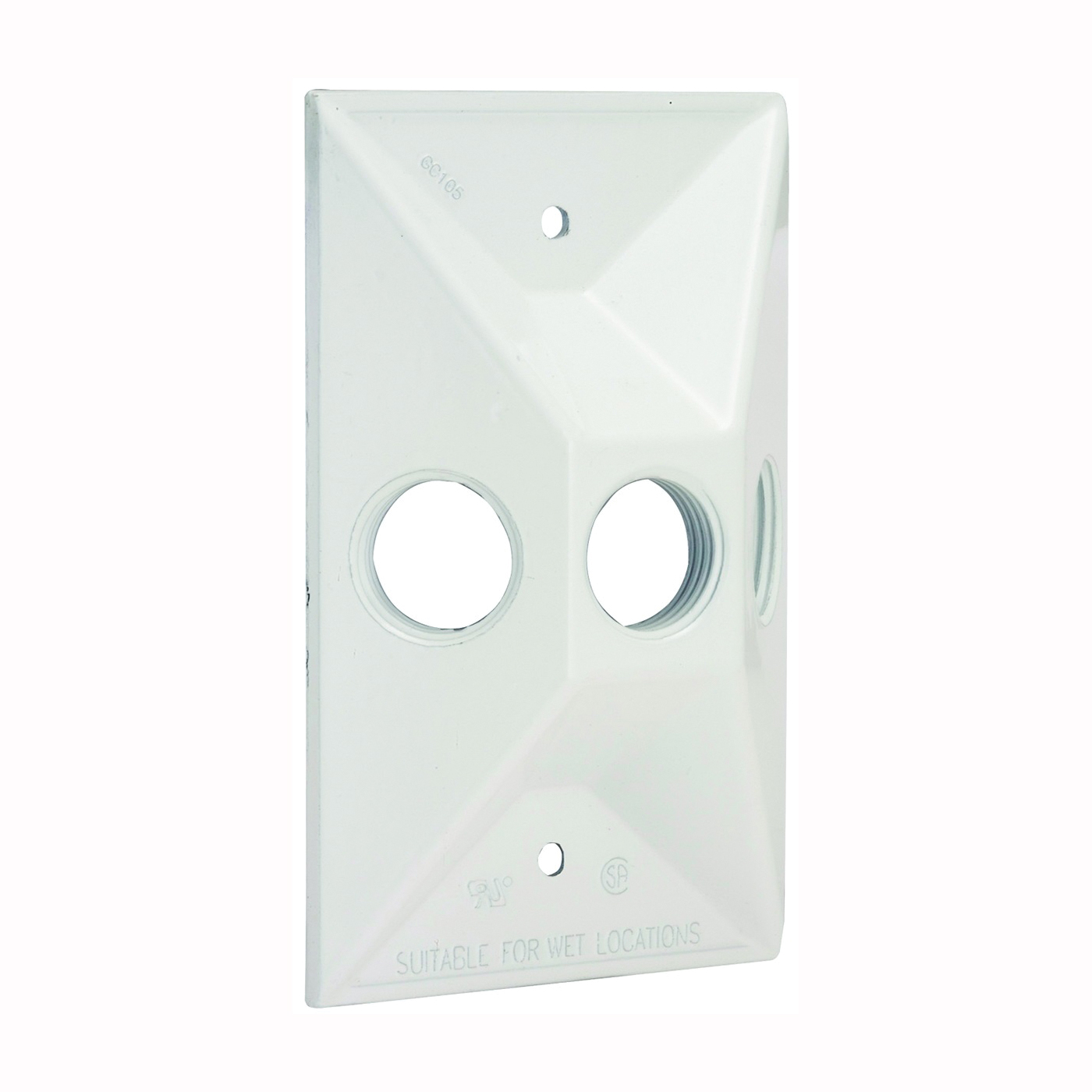 Picture of HUBBELL 5189-1 Cluster Cover, 4-19/32 in L, 2-27/32 in W, Rectangular, Zinc, White, Powder-Coated