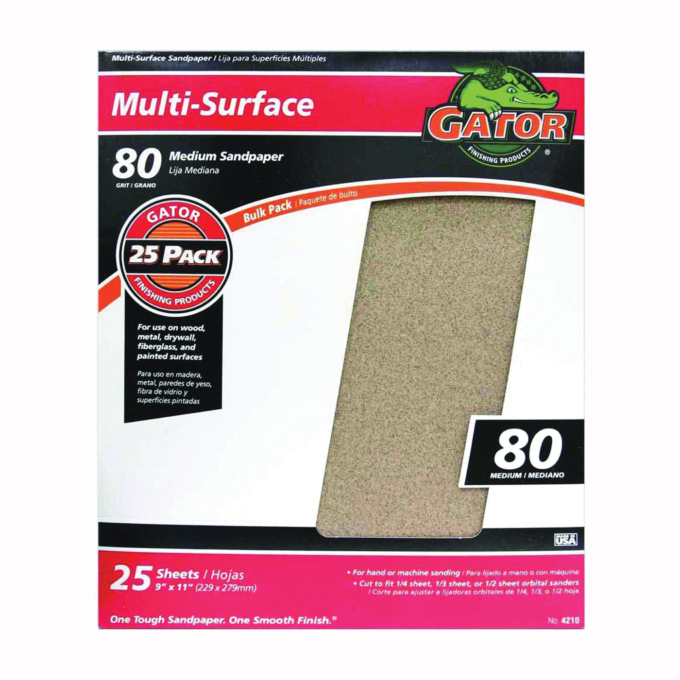 Picture of Gator 3265 Sanding Sheet, 11 in L, 9 in W, 80 Grit, Medium, Aluminum Oxide Abrasive