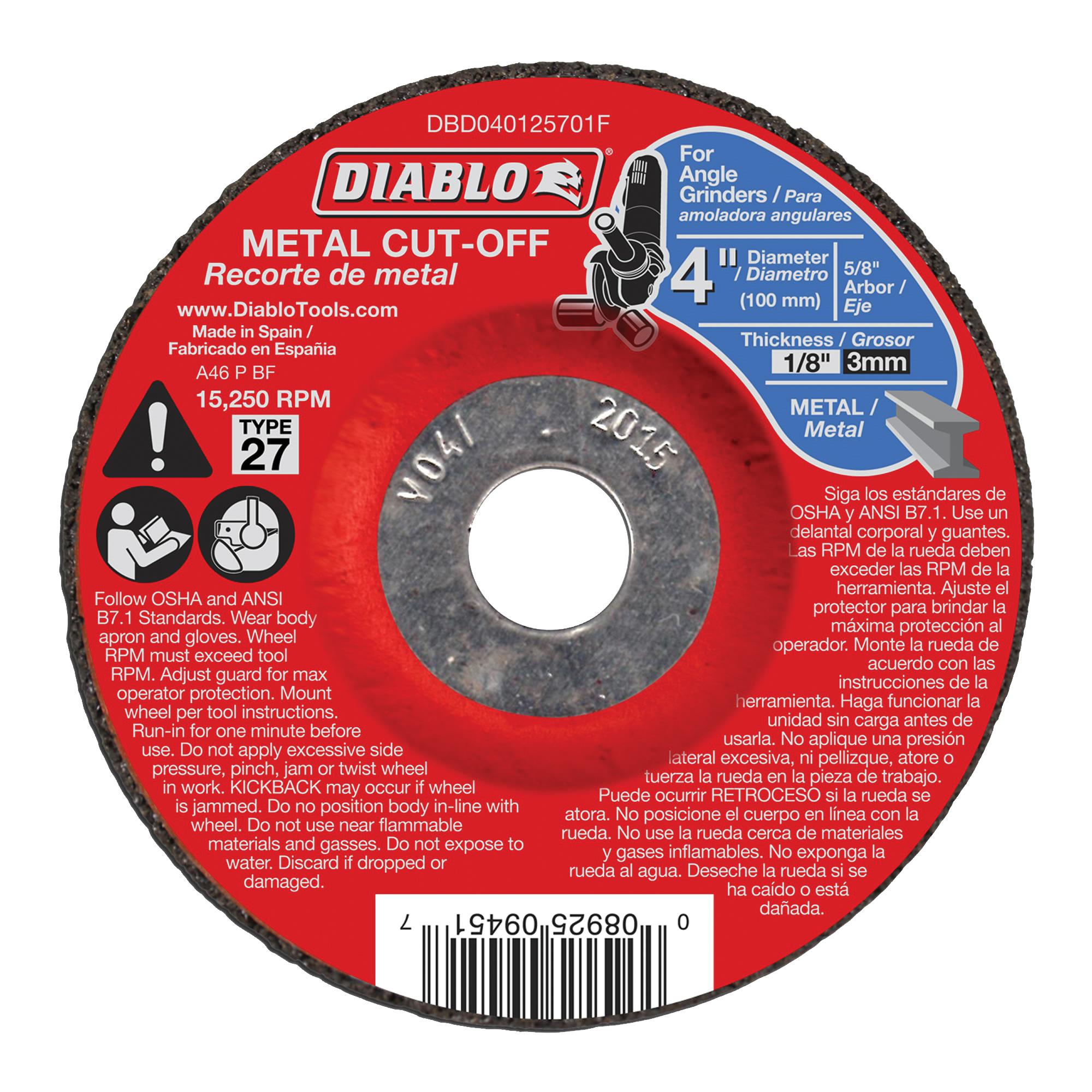 Picture of Diablo DBD040125701F Cut-Off Wheel, 4 in Dia, 1/8 in Thick, 5/8 in Arbor, Aluminum Oxide Abrasive
