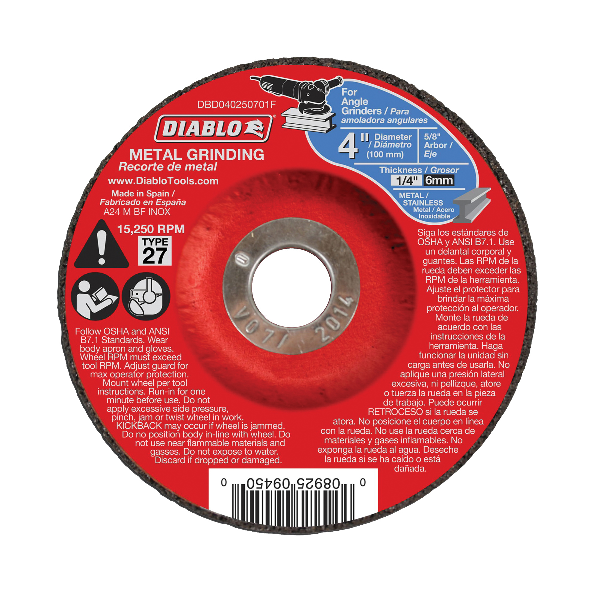 Picture of Diablo DBD040250701F Grinding Wheel, 4 in Dia, 1/4 in Thick, 5/8 in Arbor, Aluminum Oxide Abrasive