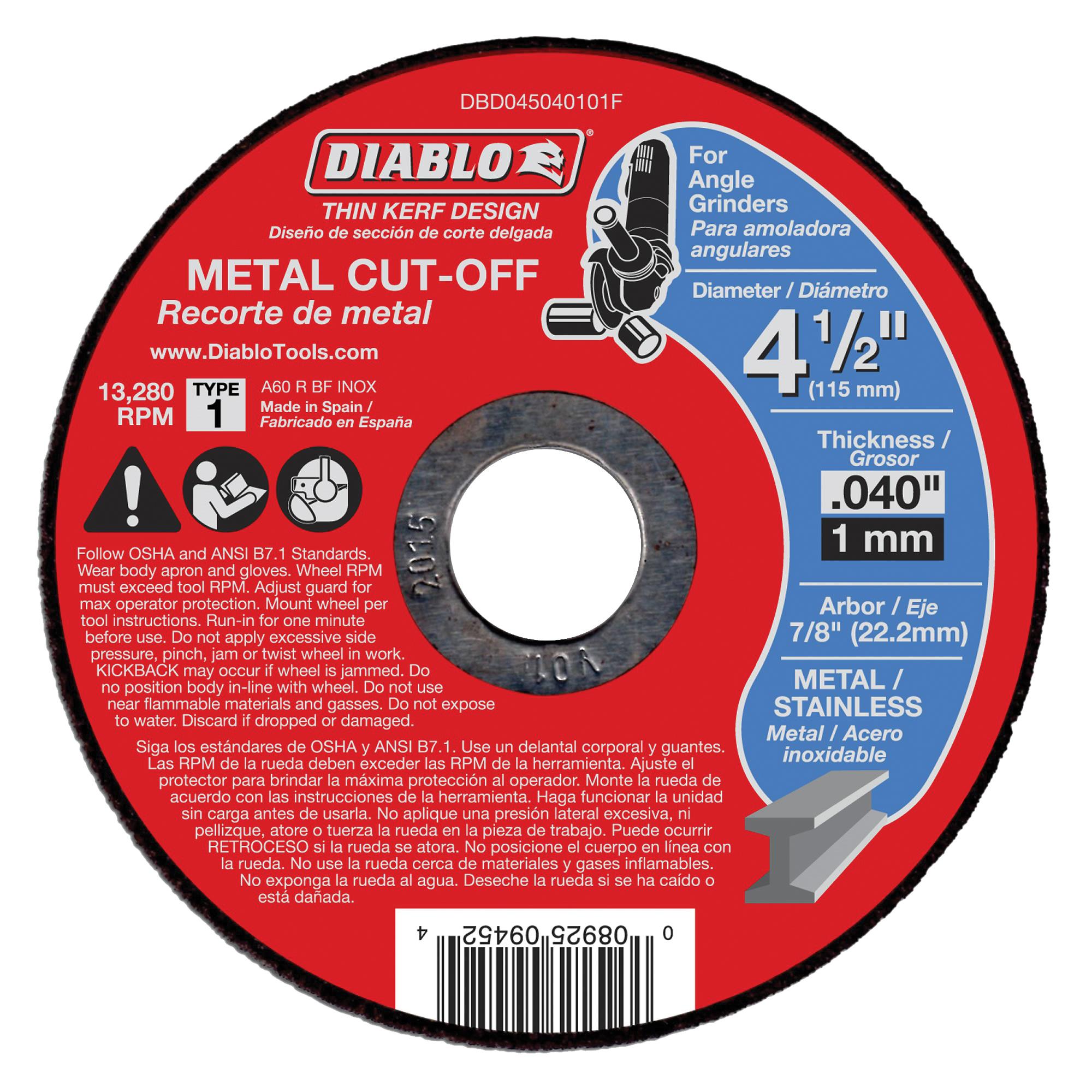 Picture of Diablo DBD045040101F Cut-Off Wheel, 4-1/2 in Dia, 0.04 in Thick, 7/8 in Arbor, Aluminum Oxide Abrasive
