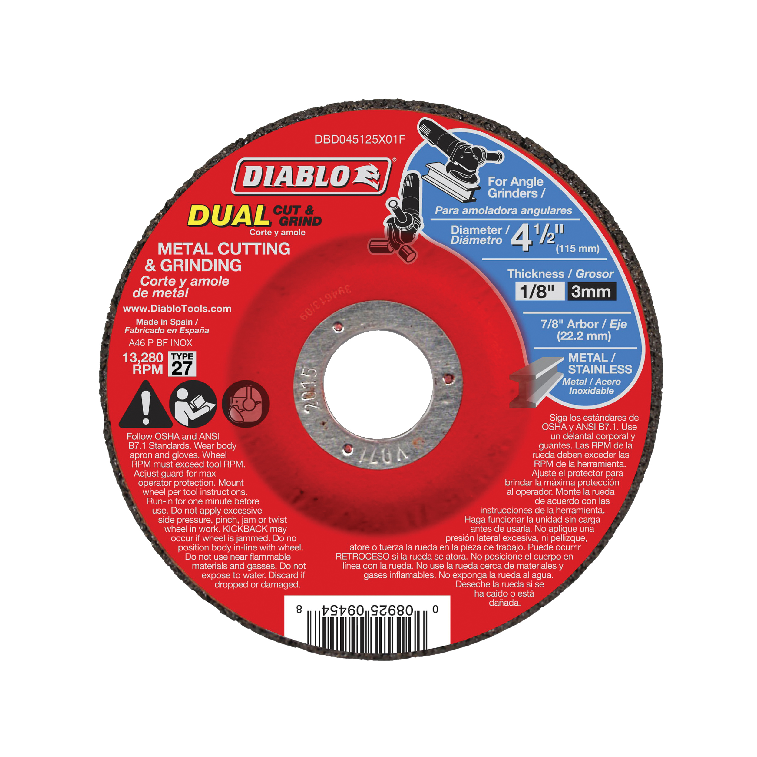 Picture of Diablo DBD045125X01F Cut and Grind Wheel, 4-1/2 in Dia, 1/8 in Thick, 7/8 in Arbor, Aluminum Oxide Abrasive