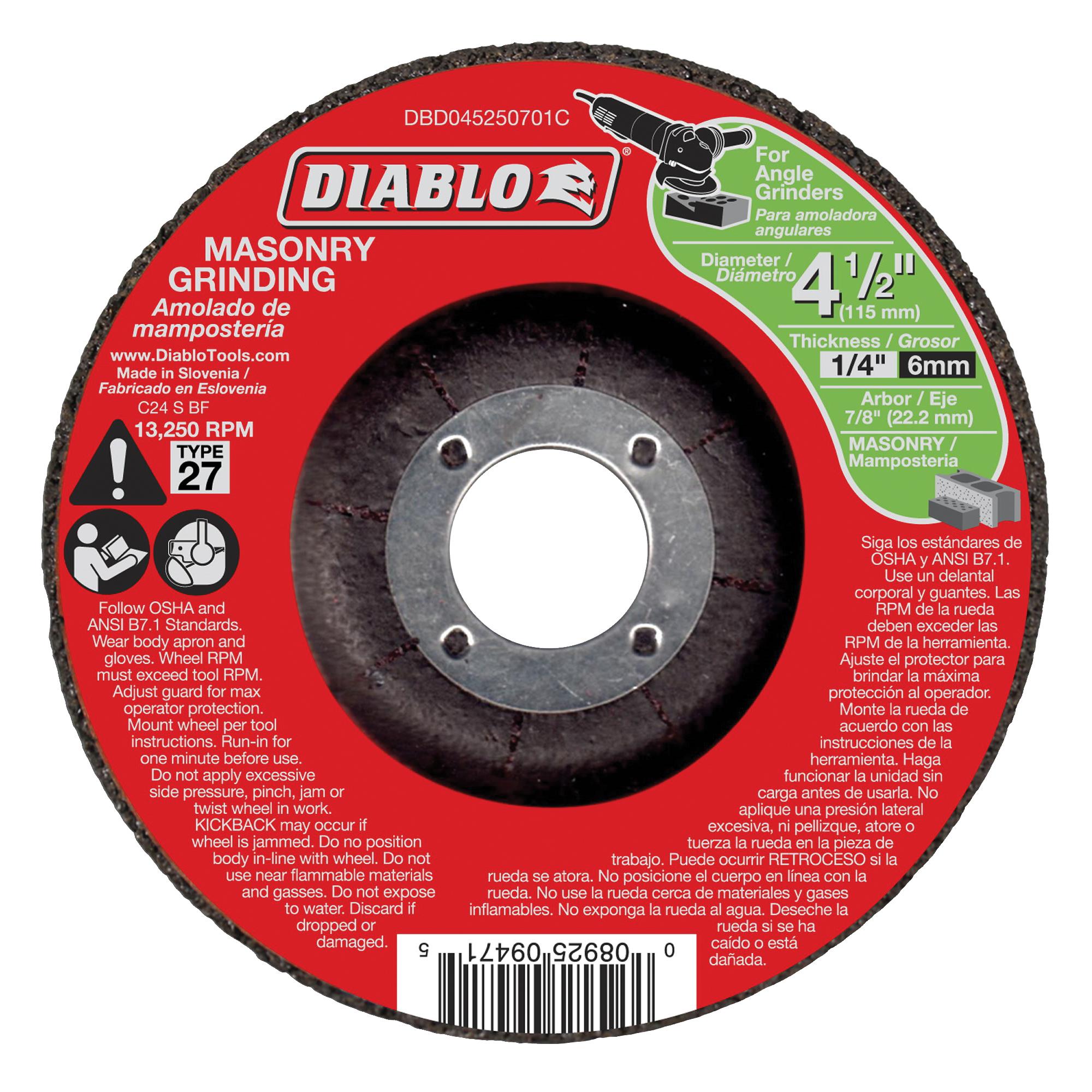 Picture of Diablo DBD045250701C Grinding Wheel, 4-1/2 in Dia, 1/4 in Thick, 7/8 in Arbor, Aluminum Oxide Abrasive