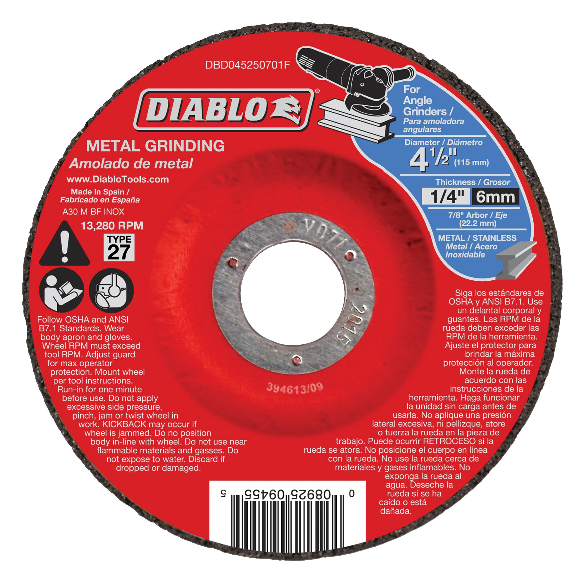 Picture of Diablo DBD045250701F Grinding Wheel, 4-1/2 in Dia, 1/4 in Thick, 7/8 in Arbor, Aluminum Oxide Abrasive