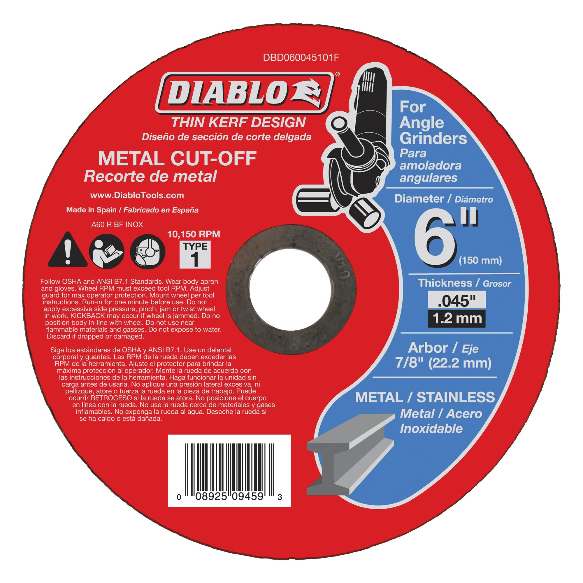 Picture of Diablo DBD060045101F Cut-Off Wheel, 6 in Dia, 0.04 in Thick, 7/8 in Arbor, Aluminum Oxide Abrasive