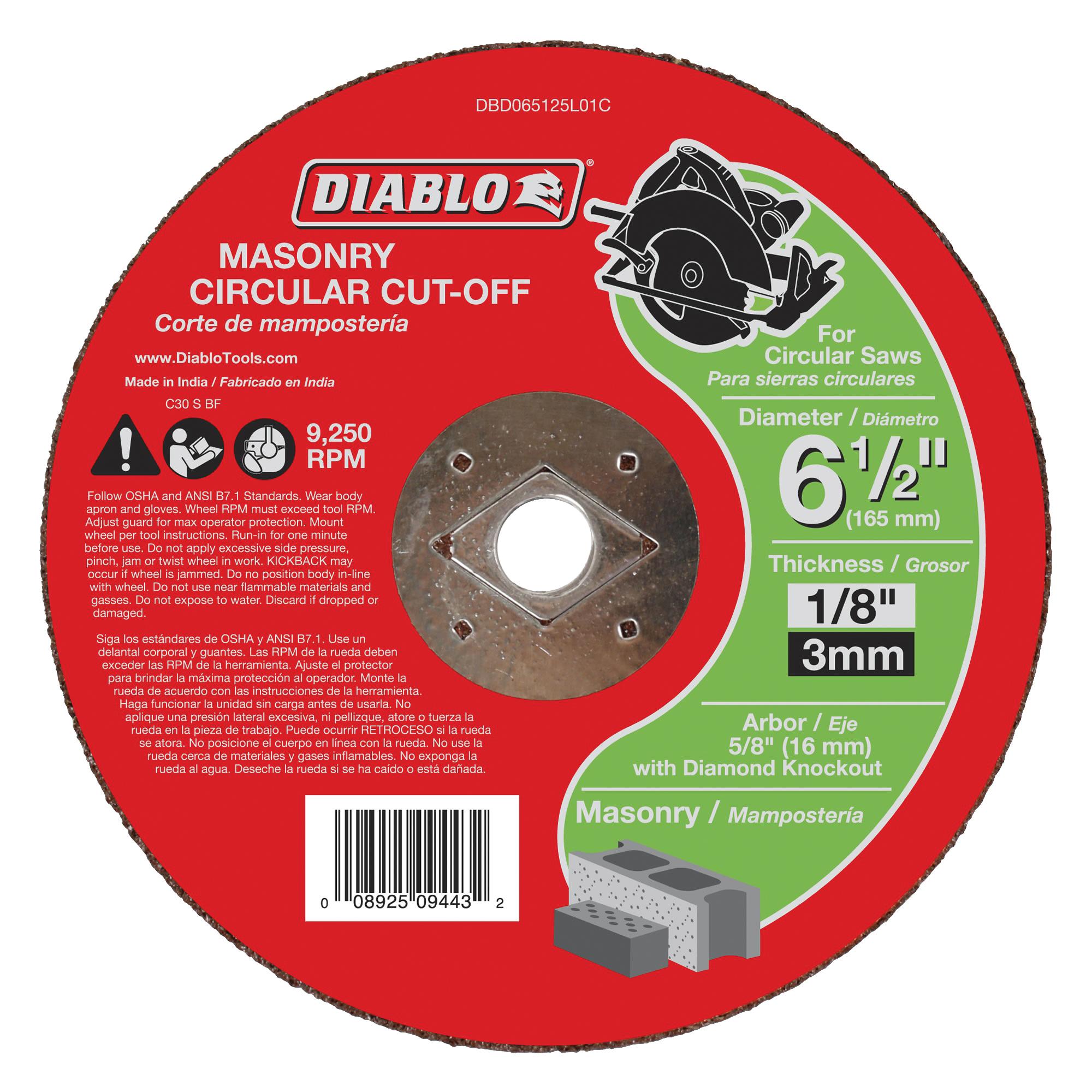 Picture of Diablo DBD065125L01C Cut-Off Wheel, 6-1/2 in Dia, 1/8 in Thick, 5/8 in Arbor, Aluminum Oxide Abrasive