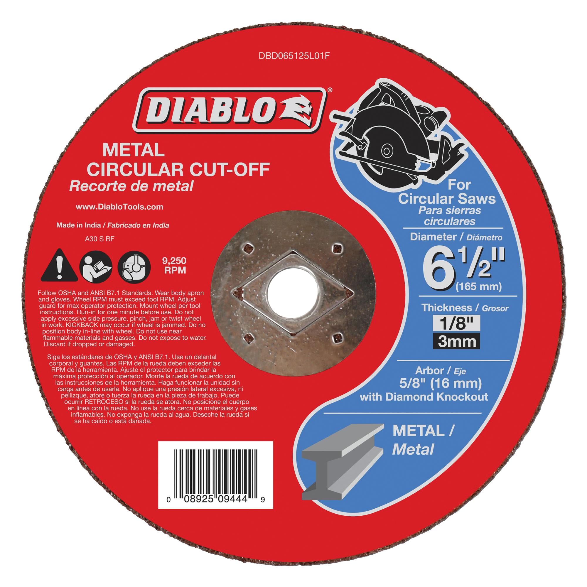 Picture of Diablo DBD065125L01F Cut-Off Wheel, 6-1/2 in Dia, 1/8 in Thick, 5/8 in Arbor, Aluminum Oxide Abrasive