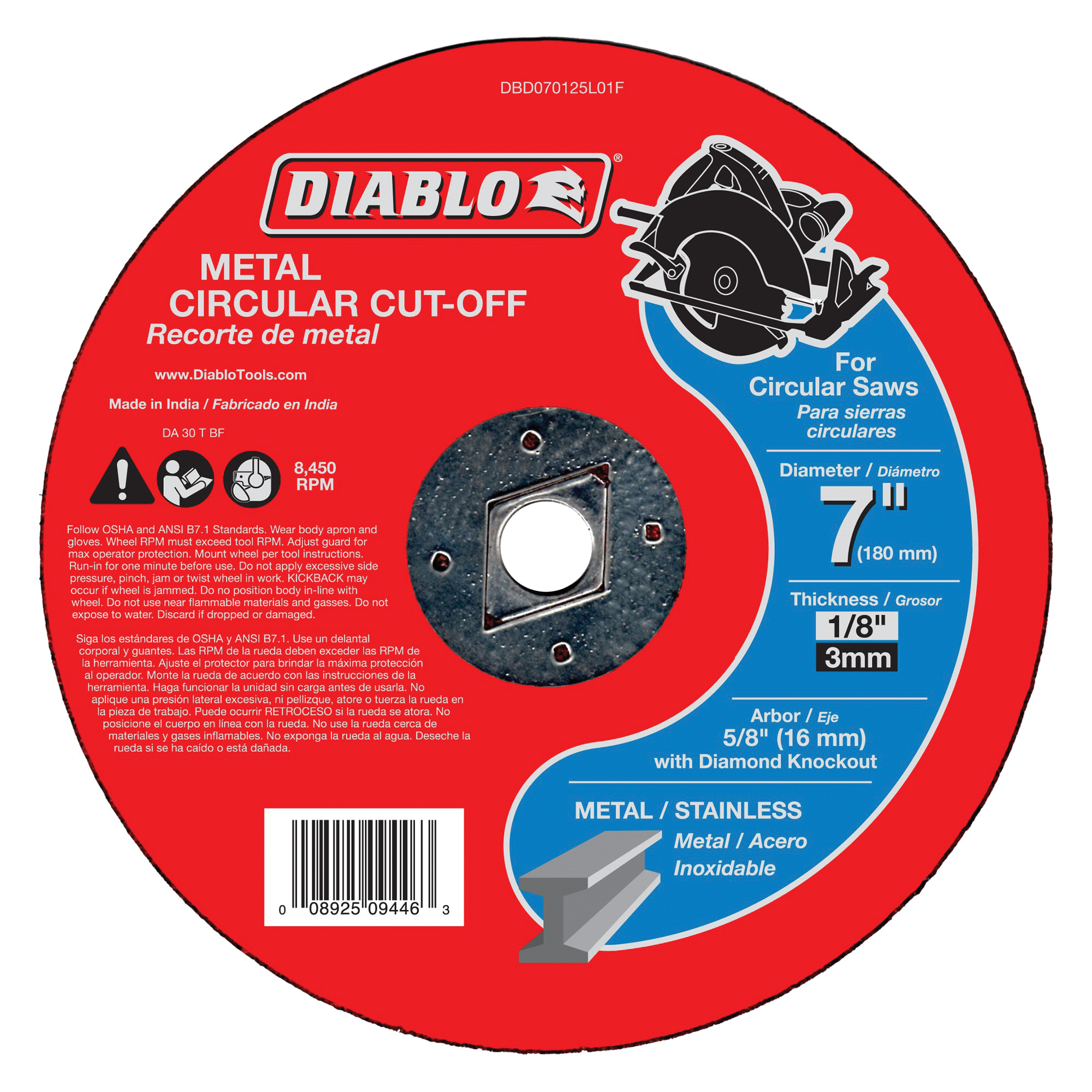 Picture of Diablo DBD070125L01F Cut-Off Wheel, 7 in Dia, 1/8 in Thick, 5/8 in Arbor, Aluminum Oxide Abrasive
