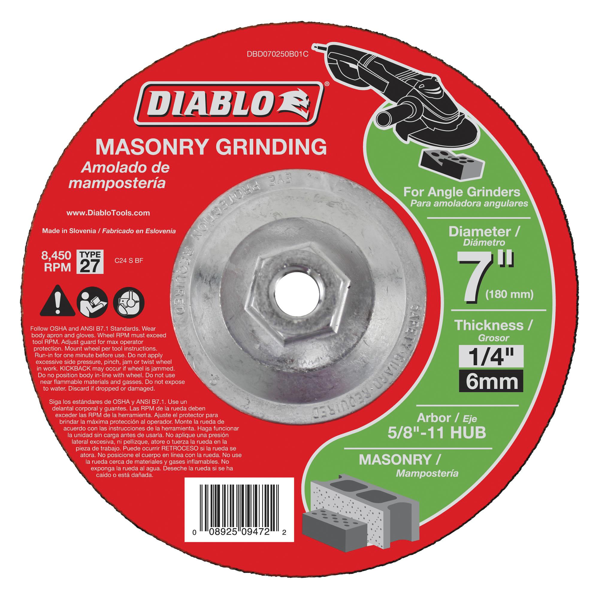 Picture of Diablo DBD070250B01C Grinding Wheel, 7 in Dia, 1/4 in Thick, 5/8-11 in Arbor, Aluminum Oxide Abrasive