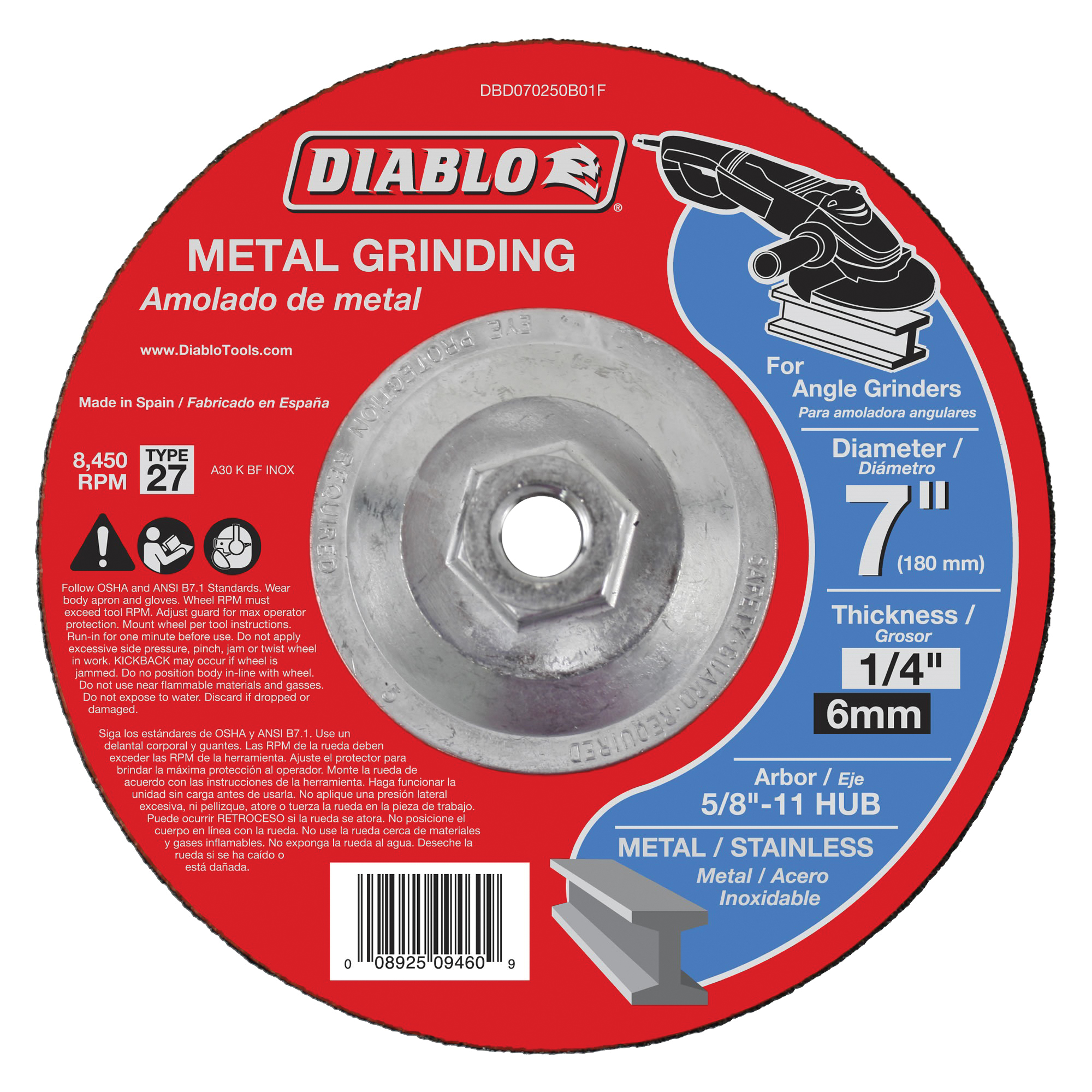 Picture of Diablo DBD070250B01F Grinding Wheel, 7 in Dia, 1/4 in Thick, 5/8-11 in Arbor, Aluminum Oxide Abrasive