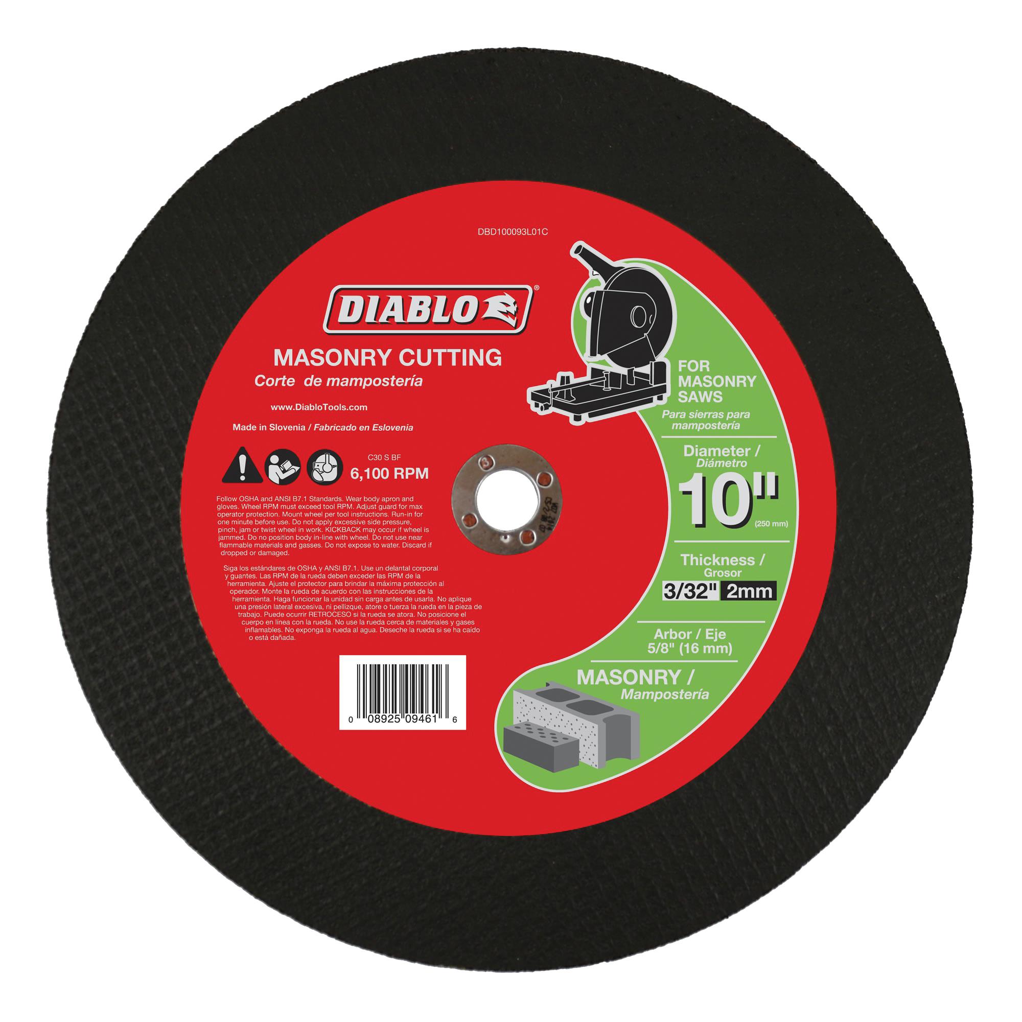 Picture of Diablo DBD100093L01C Cut-Off Disc, 10 in Dia, 3/32 in Thick, 5/8 in Arbor, Aluminum Oxide Abrasive