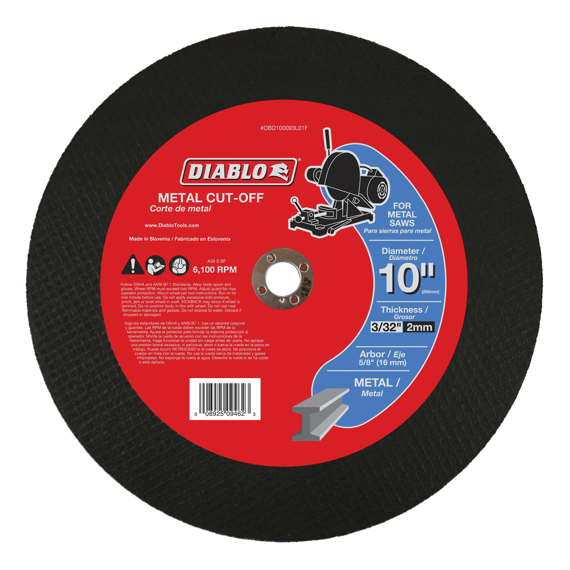 Picture of Diablo DBD100093L01F Cut-Off Disc, 10 in Dia, 3/32 in Thick, 5/8 in Arbor, Aluminum Oxide Abrasive