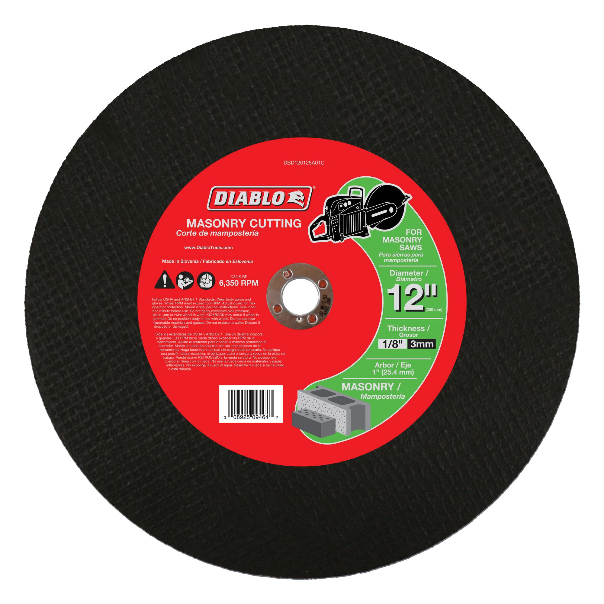 Picture of Diablo DBD120125A01C Cut-Off Wheel, 12 in Dia, 1/8 in Thick, 1 in Arbor, Aluminum Oxide Abrasive