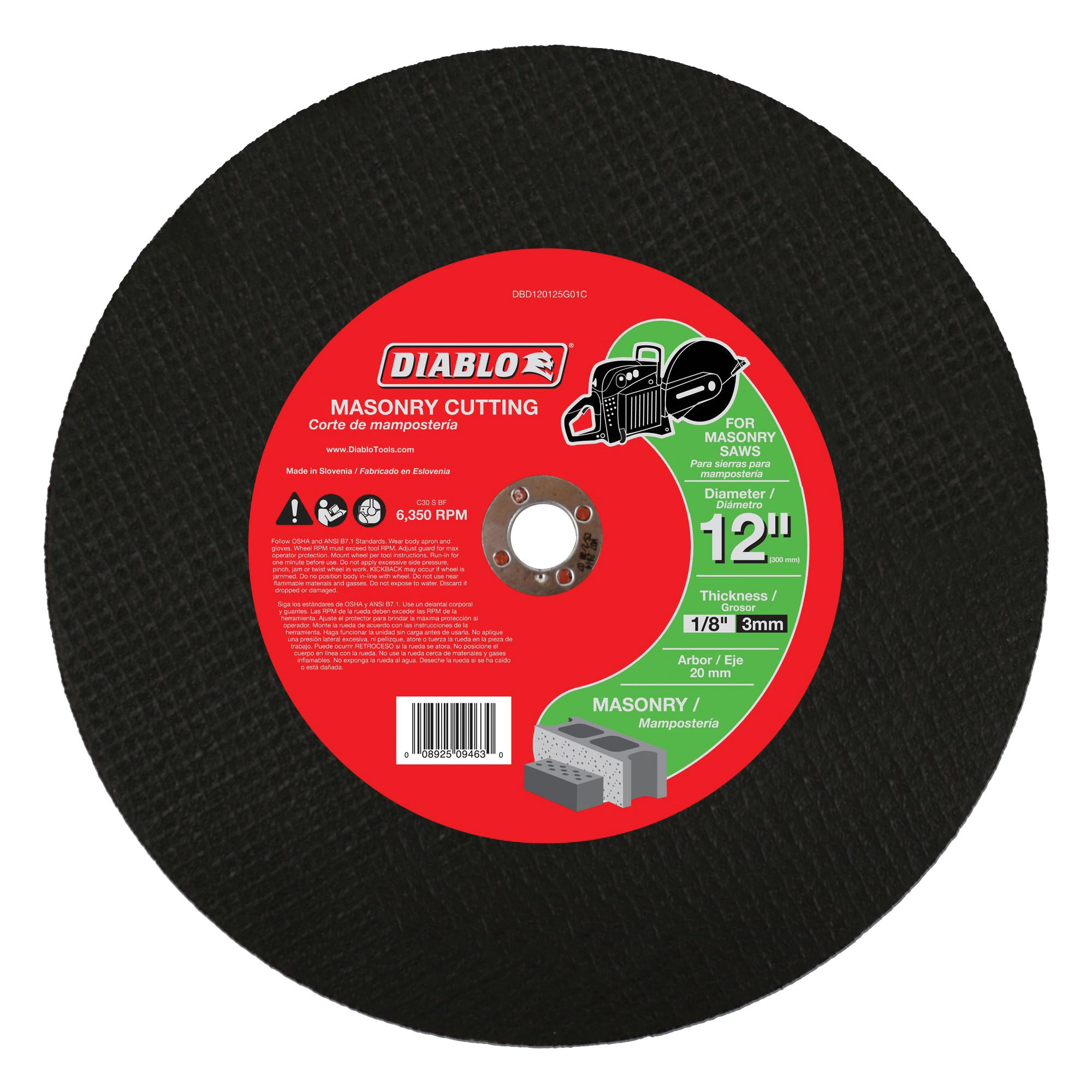 Picture of Diablo DBD120125G01C Cut-Off Wheel, 12 in Dia, 1/8 in Thick, 3/4 in Arbor, Aluminum Oxide Abrasive