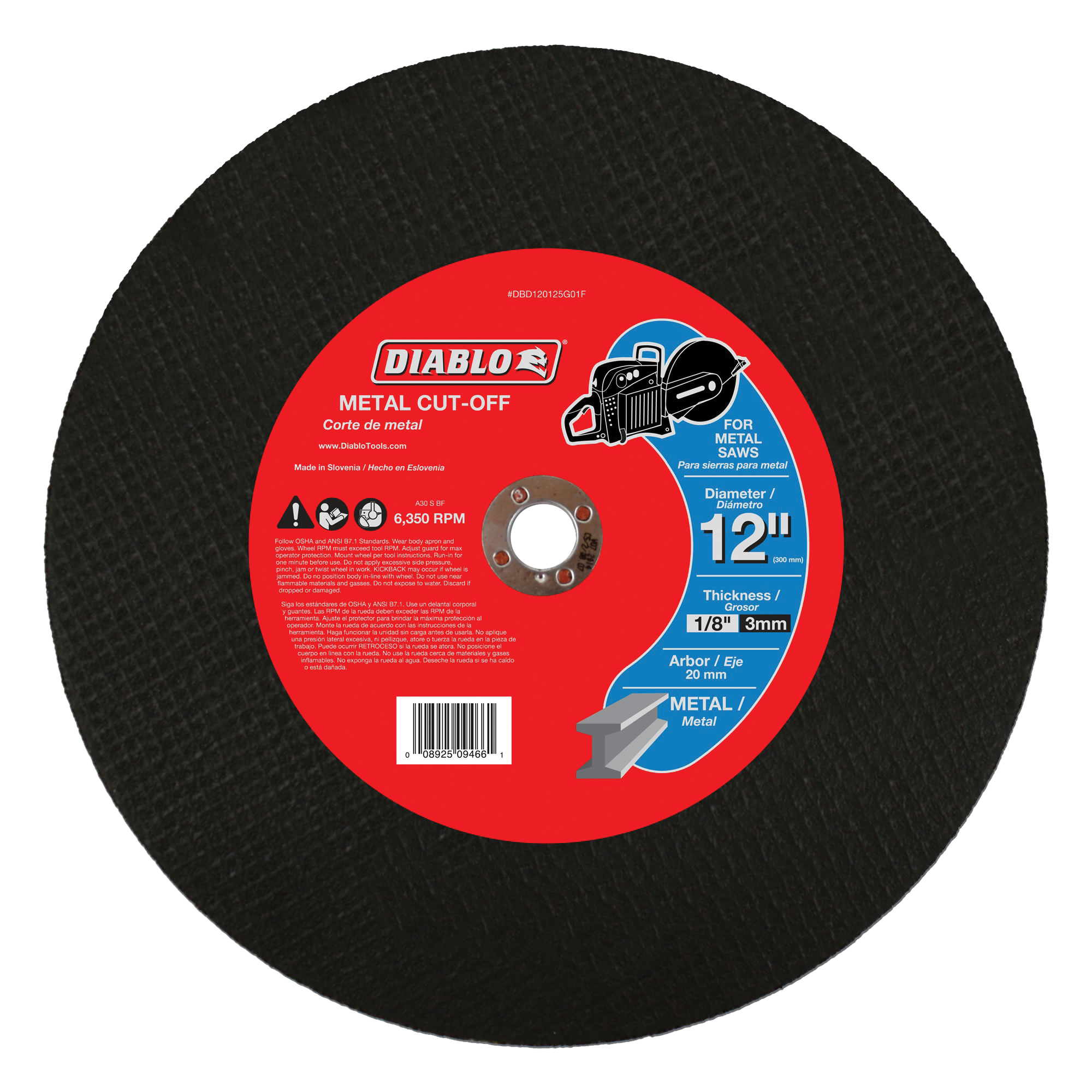 Picture of Diablo DBD120125G01F Cut-Off Wheel, 12 in Dia, 1/8 in Thick, 3/4 in Arbor, Aluminum Oxide Abrasive