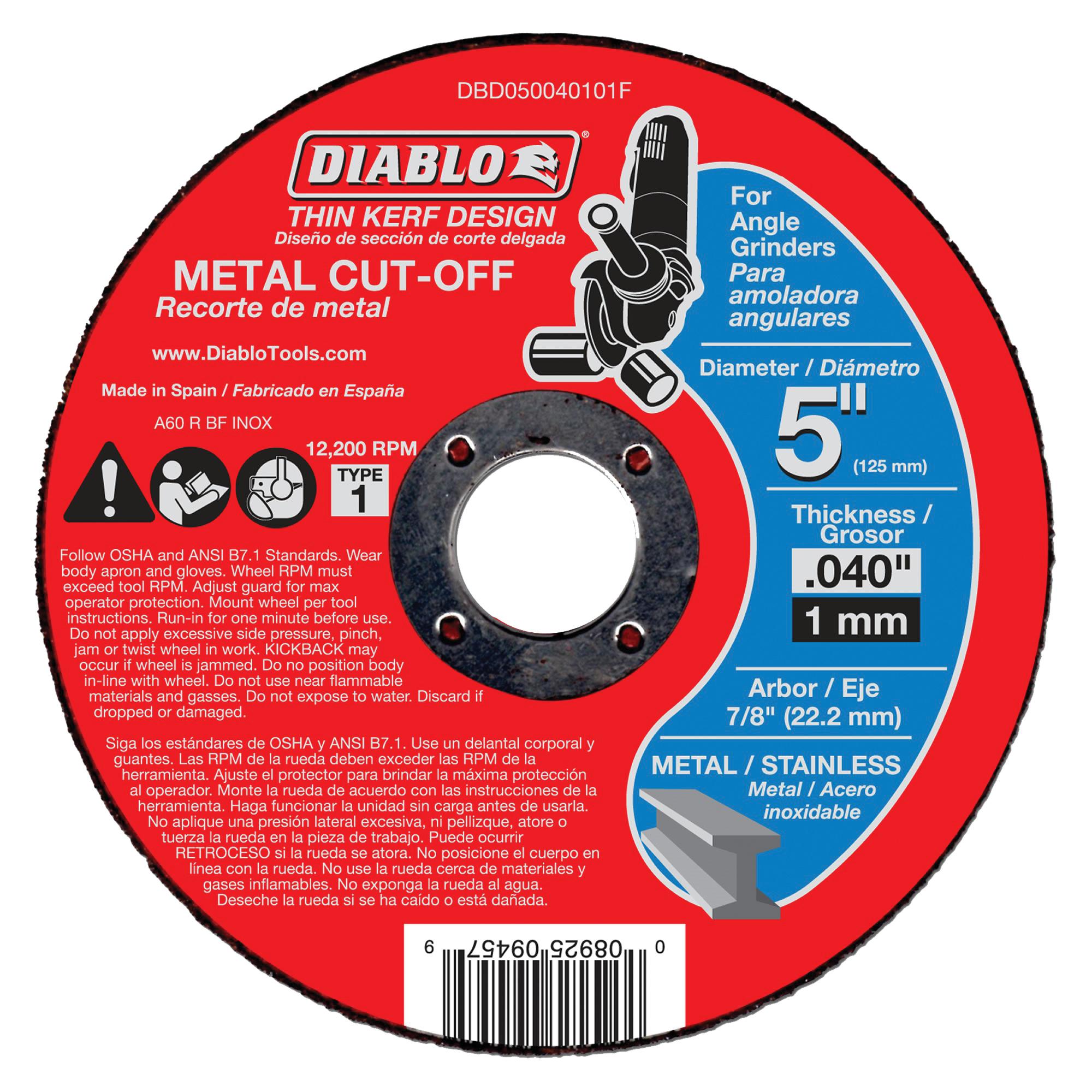 Picture of Diablo DBD050040101F Cut-Off Wheel, 5 in Dia, 0.04 in Thick, 7/8 in Arbor, Aluminum Oxide Abrasive