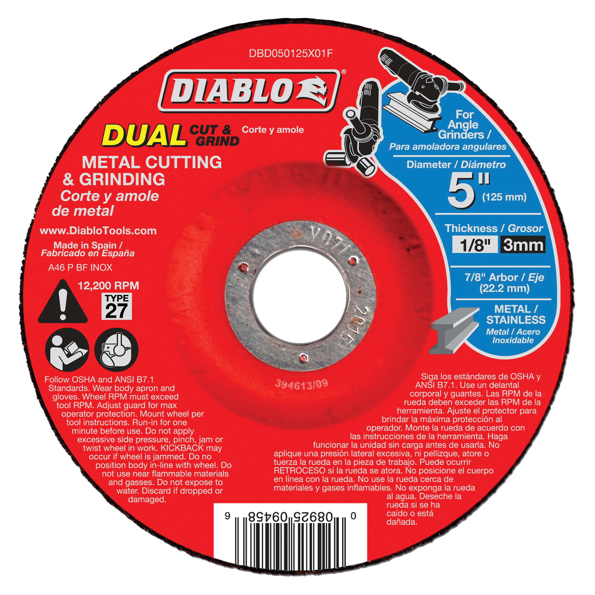 Picture of Diablo DBD050125X01F Cut and Grind Wheel, 5 in Dia, 1/8 in Thick, 7/8 in Arbor, Aluminum Oxide Abrasive