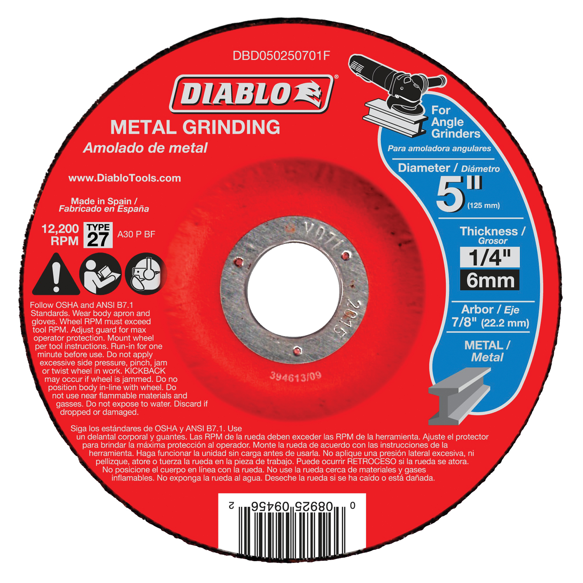 Picture of Diablo DBD050250701F Grinding Wheel, 5 in Dia, 1/4 in Thick, 7/8 in Arbor, Aluminum Oxide Abrasive