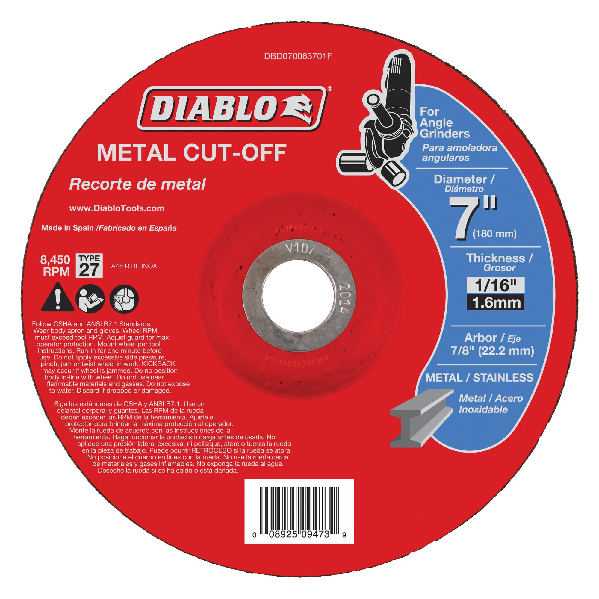 Picture of Diablo DBD070063701F Cut-Off Wheel, 7 in Dia, 1/16 in Thick, 7/8 in Arbor, Aluminum Oxide Abrasive