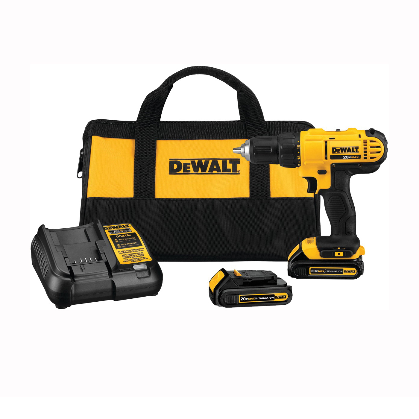 Picture of DeWALT DCD771C2 Drill/Driver Kit, Kit, 20 V Battery, 1/2 in Chuck, Keyless Chuck, Battery Included: Yes
