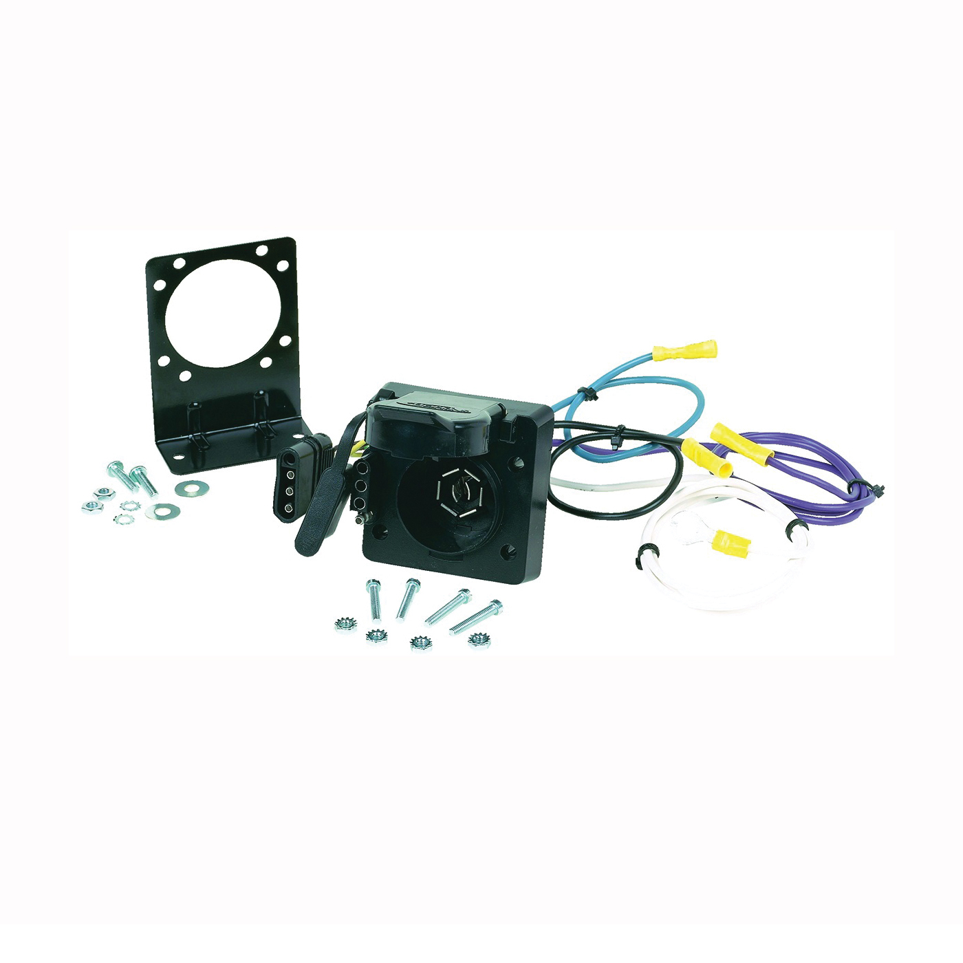 Picture of HOPKINS Multi-Tow 47185 Trailer Connector, 4 -Pole, Metal/Plastic Housing Material, Black