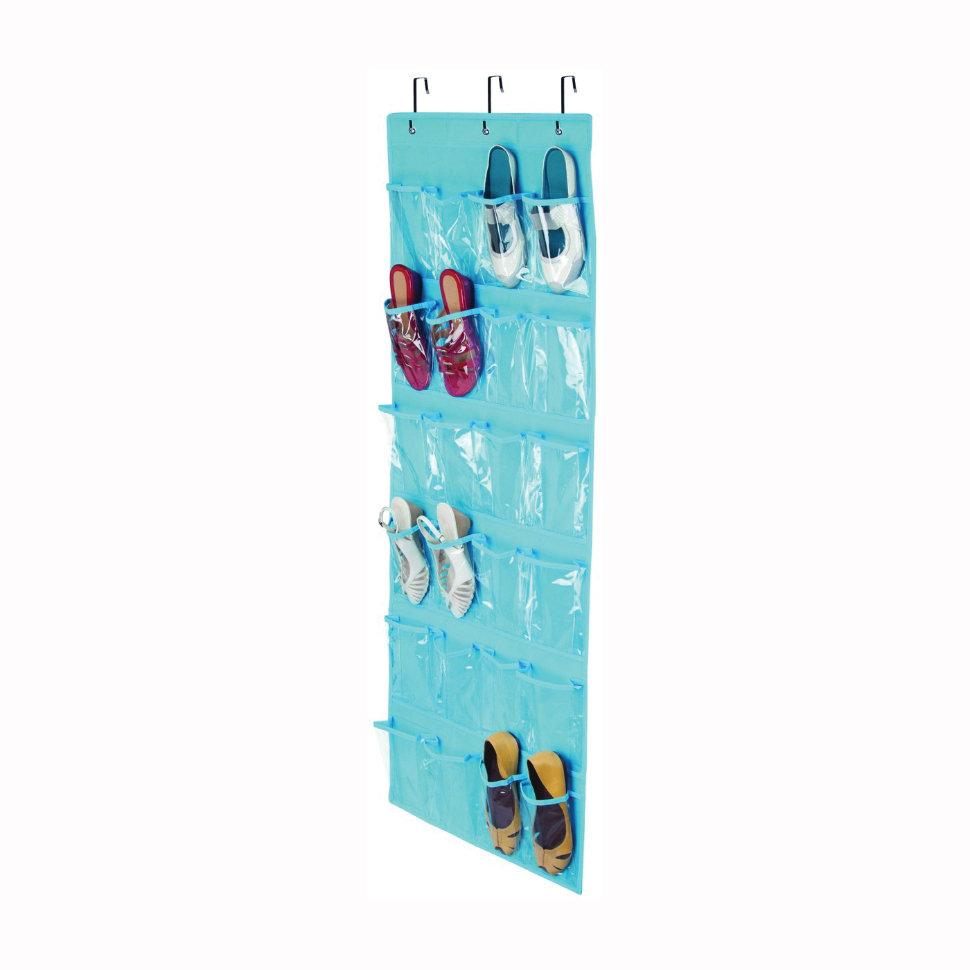 Picture of Honey-Can-Do SFT-02822 Over-The-Door Shoe Organizer, 21 in W, 57 in H, Fabric, Light Blue