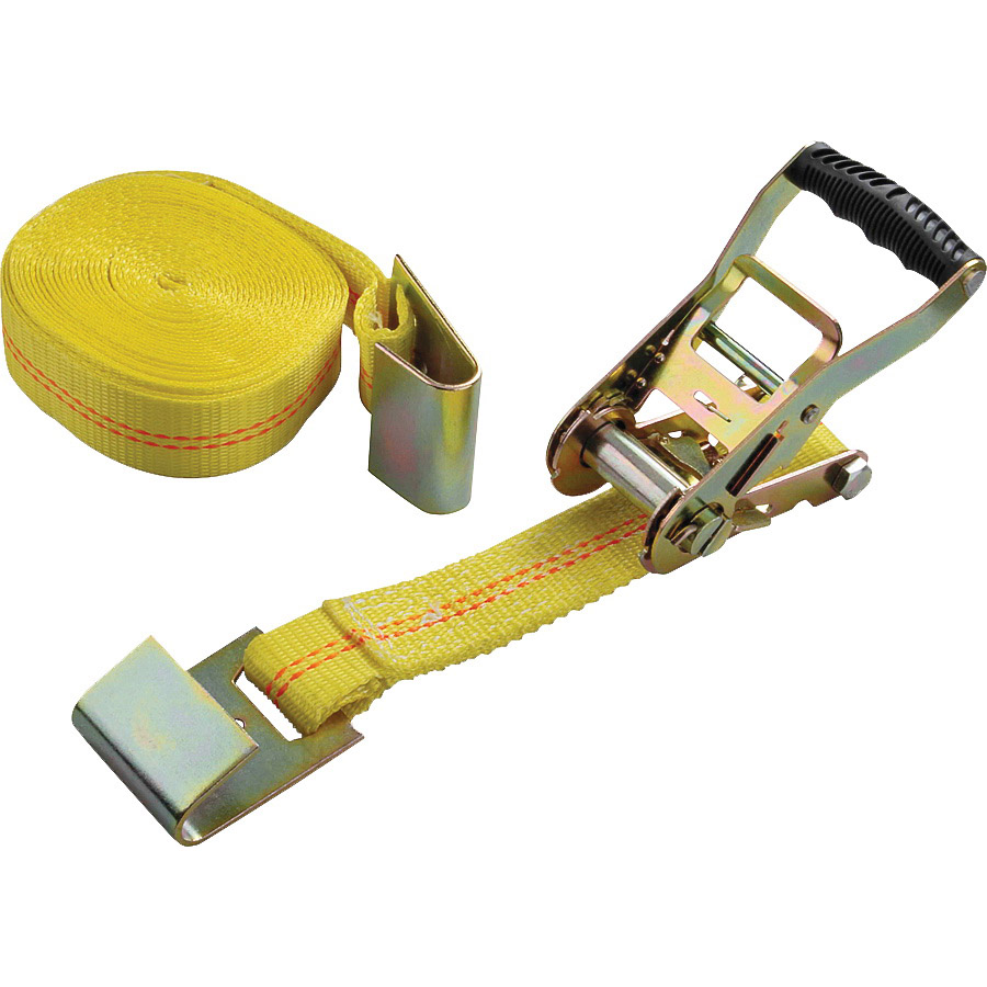 Picture of ProSource FH64065 Tie-Down, 2 in W, 27 ft L, Polyester Webbing, Metal Ratchet, Yellow, 3333 lb, Steel End Fitting