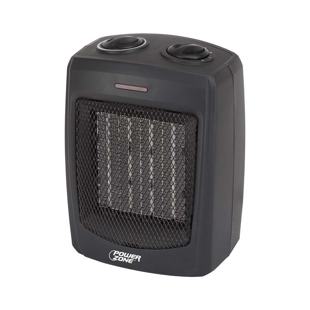 Picture of PowerZone PTC-700 Portable Electric Heater, 12.5 A, 120 V, 1500 W, 1500W Heating, 2-Heat Setting, Black