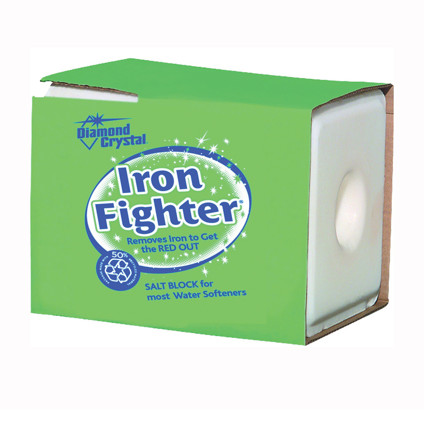 Picture of Cargill Diamond Crystal Iron Fighter 100012446 Salt Pellets, 50 lb Package, Bag, Blocks