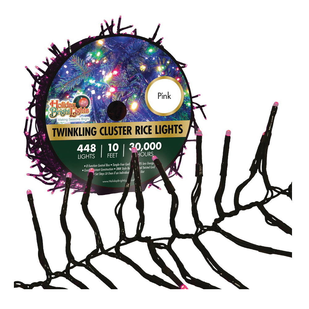 Picture of Holiday Bright Lights LED-3MCR448-GPK Cluster Rice Light Set, 448 -Lamp, LED Lamp, Pink Light, 10 ft L