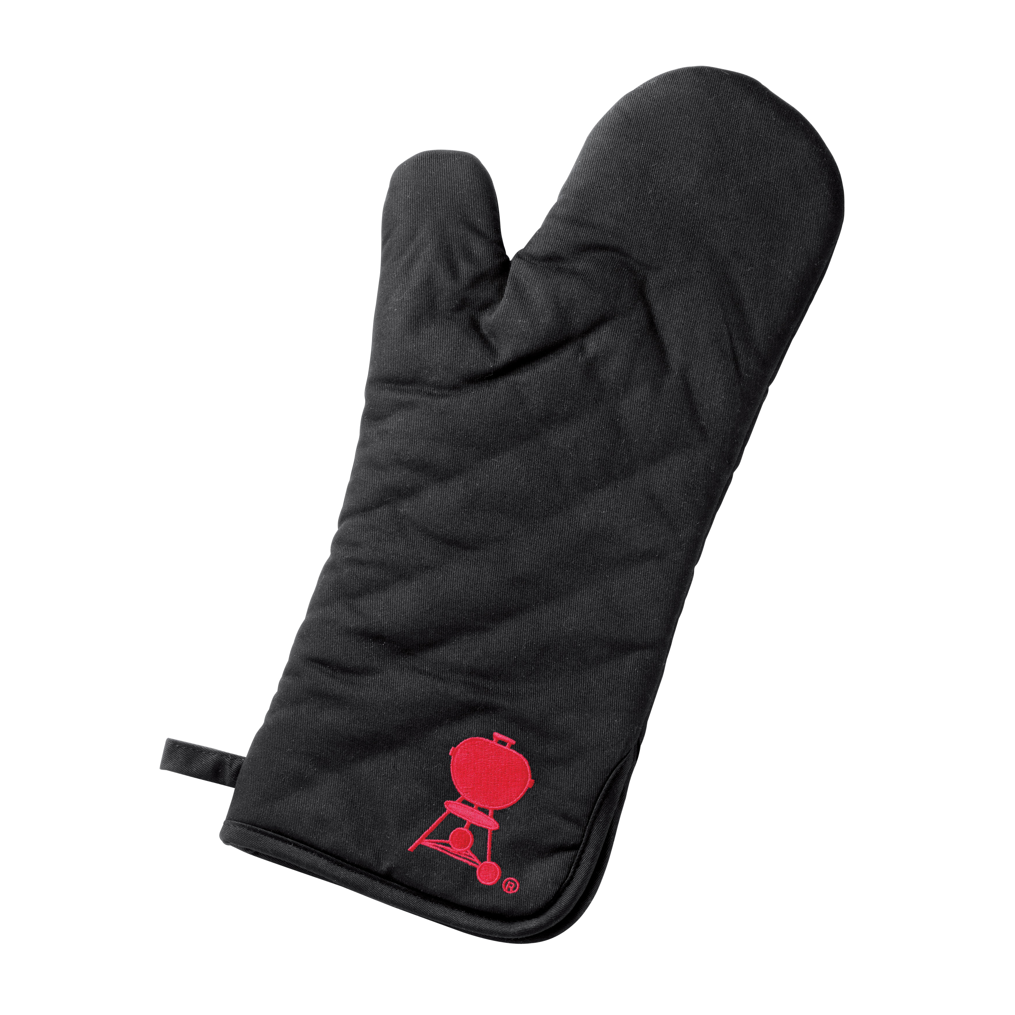 Picture of Weber 6532 Barbecue Mitt, One-Size, Foldable Cuff, Cotton, Black/Red