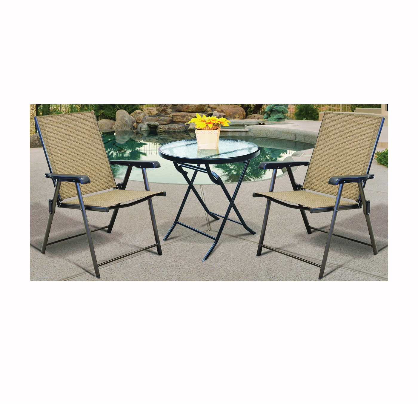 Picture of Seasonal Trends T5C27KR1J33 Folding Table, Glass Tabletop
